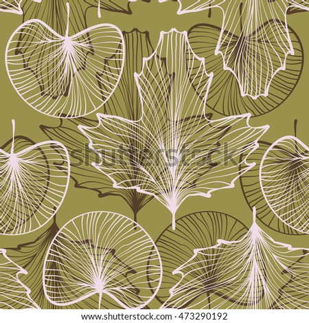 textured leaves seamless pattern. line work. skeletonized leaf on background. vector illustration