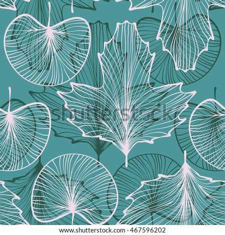 textured leaves seamless pattern. line work. skeletonized leaf on blue background. vector illustration