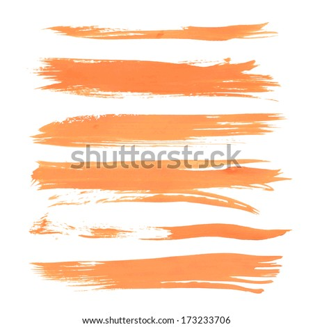 Textured orange paint line smears isolated on white background  - stock vector