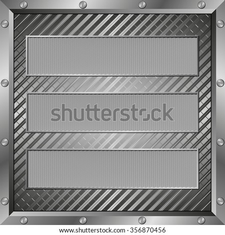 textured plaques with metal frame - stock vector