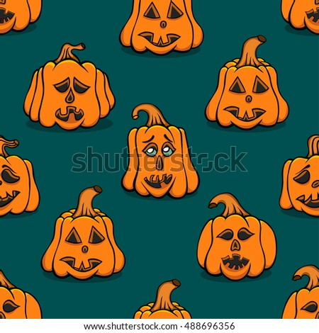 Textured pumpkins seamless background. Vector illustration image