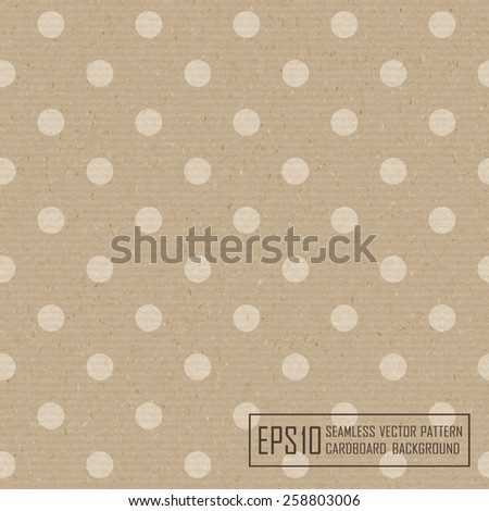 Textured recycled cardboard with natural fiber parts and polka dots - stock vector