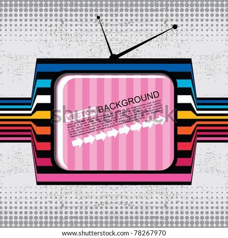 textured retro tv on grunge background - stock vector