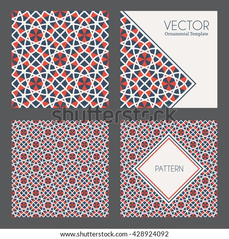 textures collection with geometric ornaments. Vector patterns - stock vector