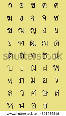 Thai alphabet letters/ Editable Eps10.