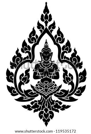 Thai arts angel, vector pattern - stock vector