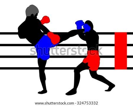 Thai Boxing Battle - stock vector