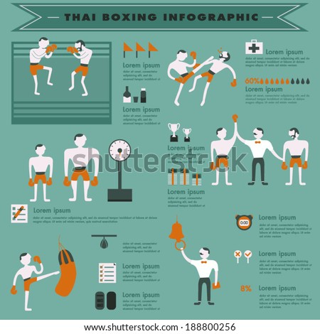 Thai boxing info-graphic - stock vector