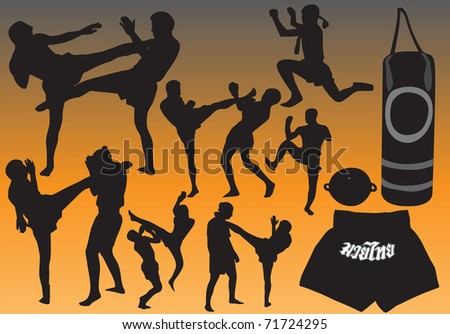 Thai Boxing Thai martial art popular around the world.This image is a vector illustration and can be scaled to any size without loss of resolution. - stock vector