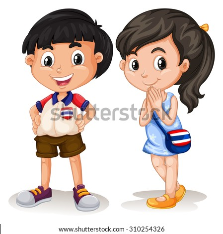 Thai boy and girl smiling illustration - stock vector