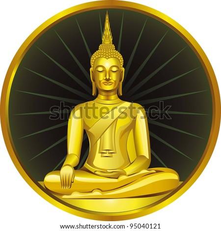 Thai Buddha Golden Statue. Buddha Statue in Thailand - stock vector
