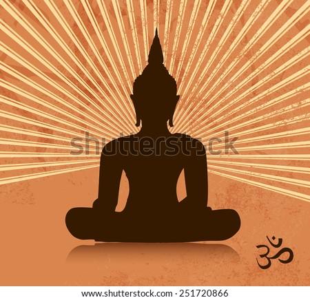 Thai buddha silhouette in lotus position - stock vector