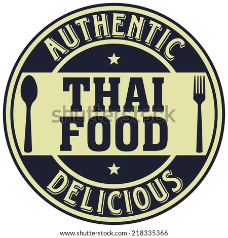 thai food label - stock vector