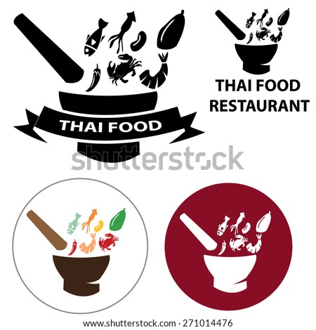 Thai Food restaurant logo and vector icon with isolated object , Somtum also known as. green papaya salad in thai style, fish , Shrimp, squid, crab, fish, peanuts, papaya.