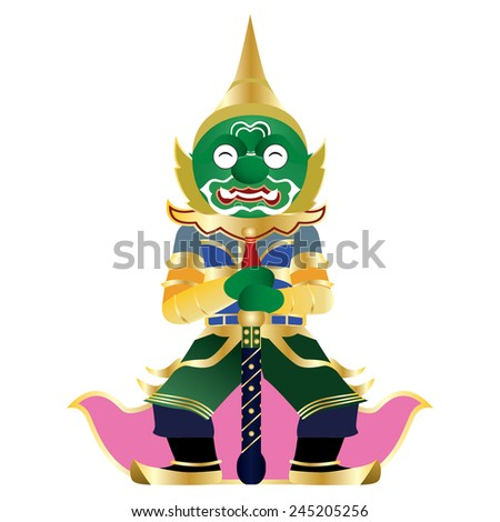 Thai Giant isolated on white background - stock vector