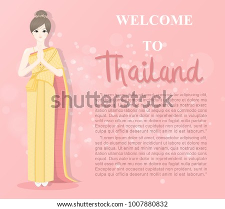 Thai lady thai traditional costume greetings stock vector 1007880832 thai lady in thai traditional costume greetings in thai style called sawaddee meaning hello m4hsunfo Gallery