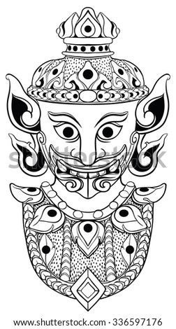 Thai or asian demon head in black line art. Vector, isolated on white.