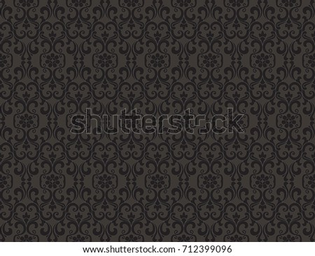 Thai vintage seamless pattern vector abstract background, black on gray