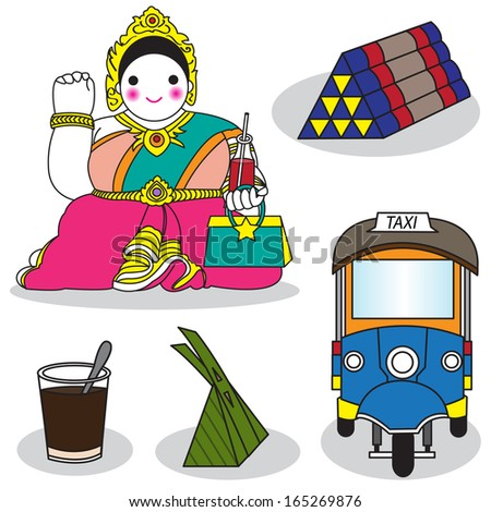 Thai woman statue beckoning happy lot in, triangular backrest, coffee, sweet and taxi