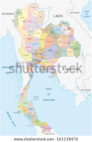 thailand administrative map - stock vector