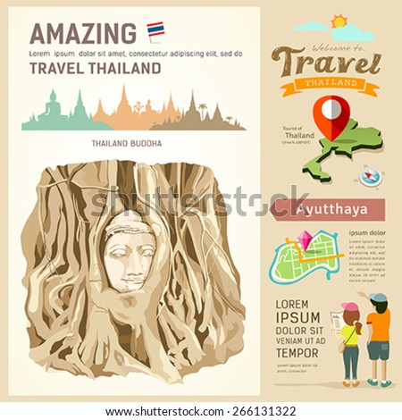 Thailand, Amazing travel Thailand, The roots around the head of Buddha Image at Ayutthaya Thailand. background, vector illustration