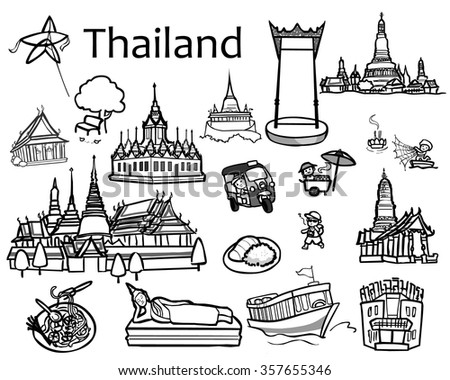 Thailand attractions icon and vector illustration