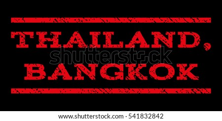 Thailand, Bangkok watermark stamp. Text caption between horizontal parallel lines with grunge design style. Rubber seal stamp with unclean texture. Vector red color ink imprint on a black background.