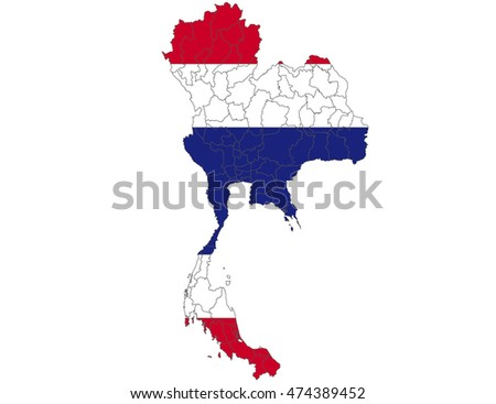thailand country flag on white background.
