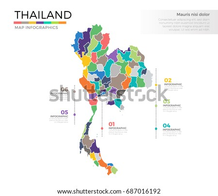 Thailand country map infographic colored vector vector de thailand country map infographic colored vector template with regions and pointer marks gumiabroncs Images