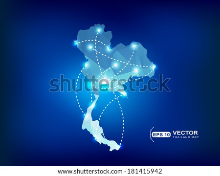Thailand country map polygonal with spot lights places - stock vector