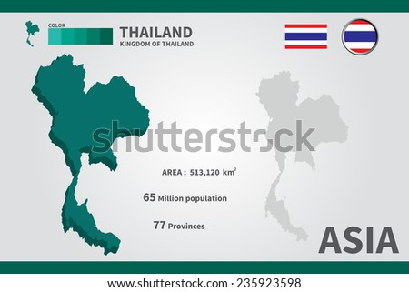 Thailand flag asia world map vector stock vector 2018 235923598 asia world map vector illustration gumiabroncs Images