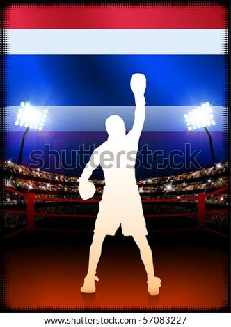 Thailand Flag with Boxer on Stadium Background Original Illustration - stock vector