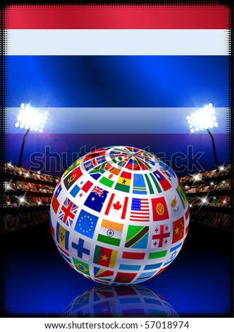 Thailand Flag with Globe on Stadium Background Original Illustration