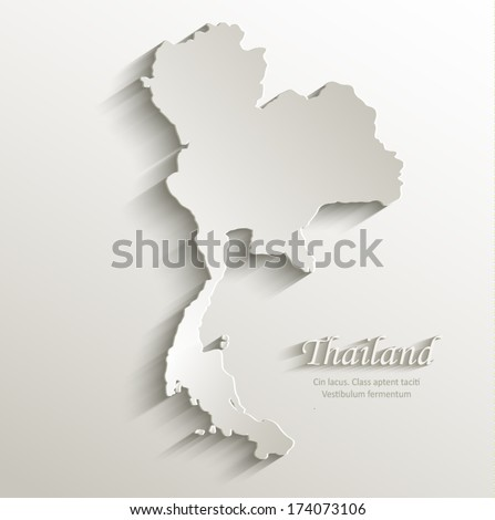 thailand map card paper 3D natural vector blank  - stock vector