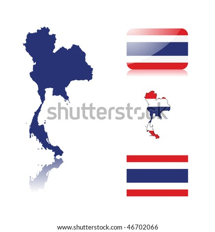 Thailand map including: map with reflection, map in flag colors, glossy and normal flag of Thailand . - stock vector