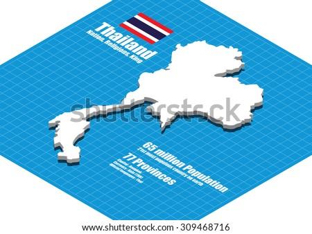 Thailand map vector three dimensional - stock vector