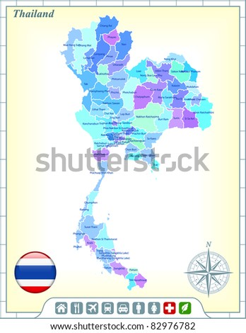 Thailand Map with Flag Buttons and Assistance & Activates Icons Original Illustration - stock vector