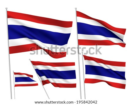Thailand vector flags. A set of 5 wavy 3D flags created using gradient meshes. - stock vector