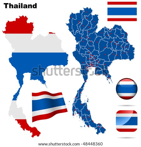 Thailand vector set. Detailed country shape with region borders, flags and icons isolated on white background. - stock vector