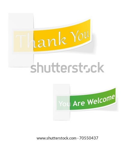 Thank you and you are welcome - colorful, stylish labels.
