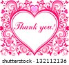 Thank you! Beautiful card with heart and floral elements. Vector Illustration - stock vector
