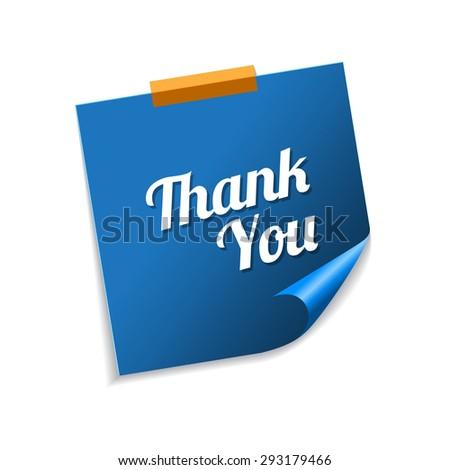 Thank You Blue Sticky Notes Vector Icon Design - stock vector