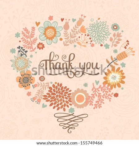 Thank you! Bright cartoon card made of flowers. Floral background in pink colors - ideal for holiday invitations in vector - stock vector