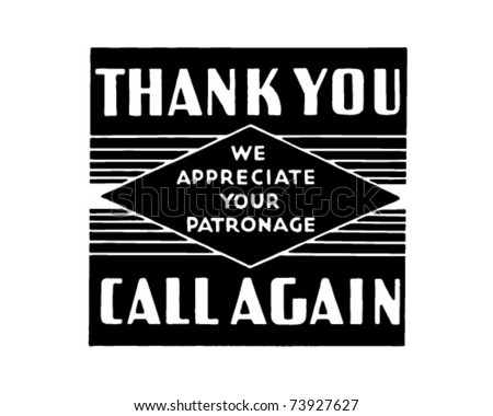 Thank You Call Again 2 - Retro Ad Art Text Banner - stock vector