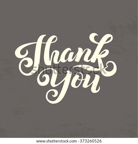 Thank You Calligraphic Card. White Letters - stock vector