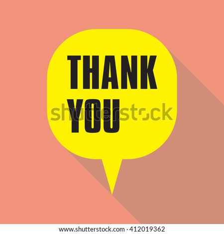 Thank you card colorful, vector, replicate flat design with shadow, speech bubble icon in trendy color pallet, with lettering Thank You. - stock vector