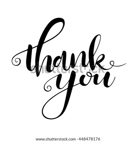 Thank you card. Hand drawn lettering, handmade vector calligraphy, isolated on white. Hand drawn design elements  - stock vector