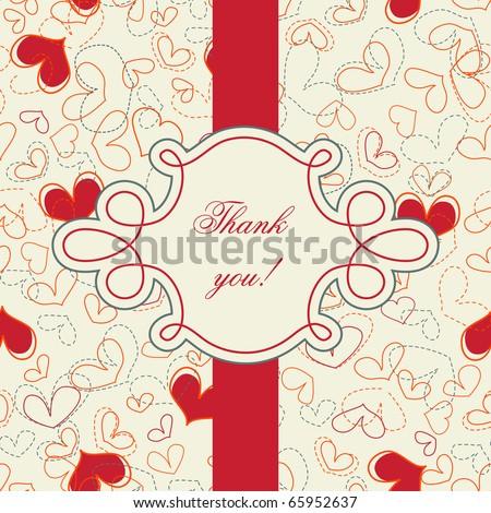 Thank you card; hearts seamless wallpaper - stock vector