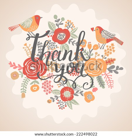 Thank you card in bright colors. Stylish floral background with text and cute cartoon birds in vintage style. Thank You Print Design - stock vector
