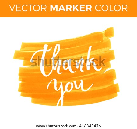 Thank you card, ink hand lettering. Abstract marker shape. - stock vector